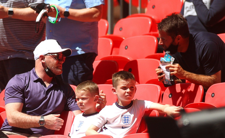 Wayne Rooney and Jamie Redknapp at England game at Wembley