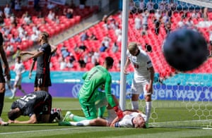 and is winded after clattering into the Goal Post