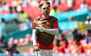Jack Grealish of England warms up