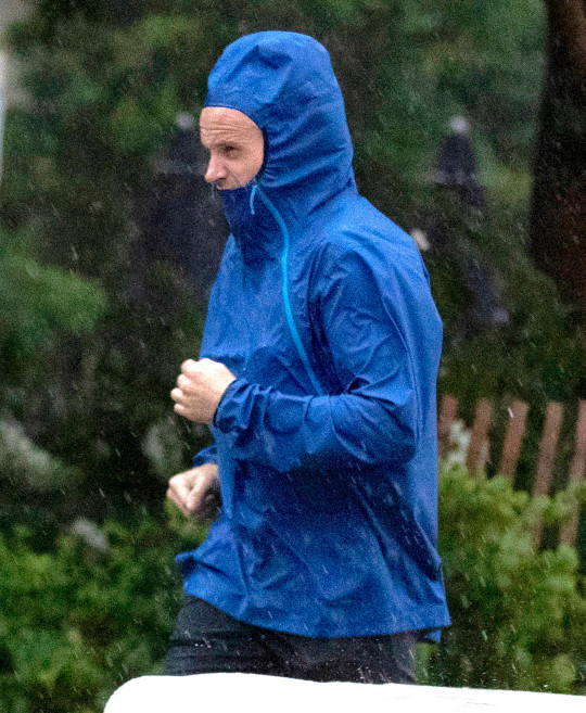 Angelina Jolie's ex-husband Jonny Lee Miller was seen out on a rainy jog the next morning after spending the evening with her