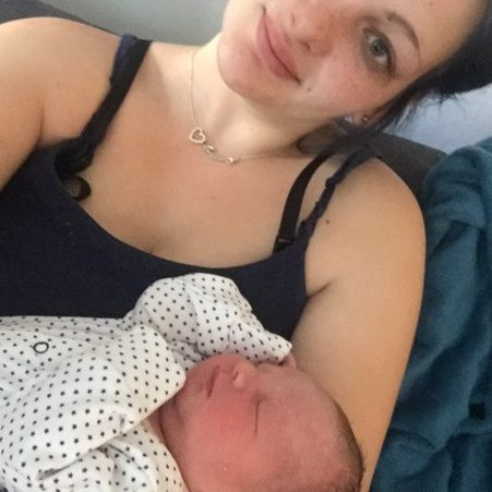 Louise Cooper with her child