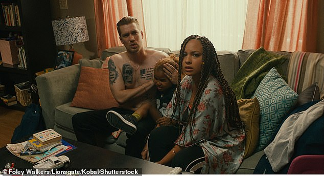 Picking up the pieces: Blindspotting takes place six months after the film of the same name, as Ashley (Jasmine Cephas Jones) takes her son to move in with her partner Miles' mother (Helen Hunt) after he goes to prison; still from Blindspotting with Rafael Casal (L)