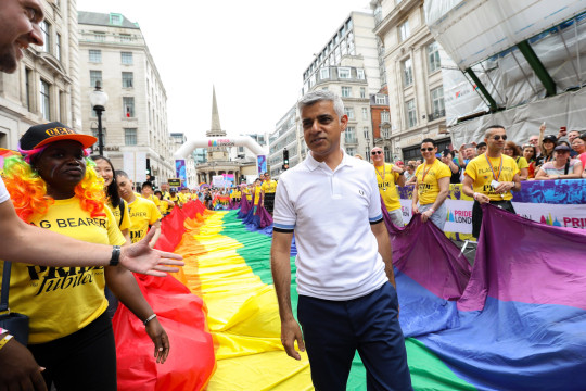 London Mayor Sadiq Khan during the parade at Pride in London 2019