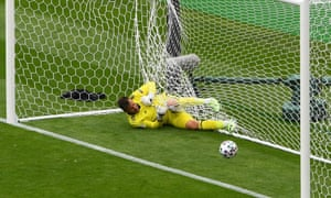 David Marshall tangled in the net after Schick's spectacular goal.