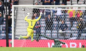 David Marshall can do nothing to stop Patrik Schick's stunning shot from his own half.
