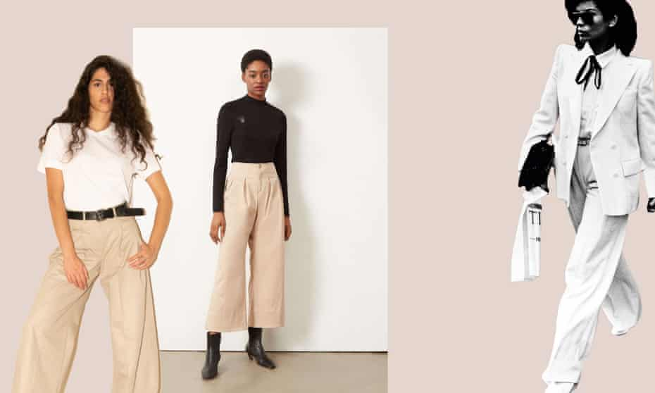 (From left) Jejia wide-legged trousers from Onloan, Courtney wide legged trousers by Aligne, Bianca Jagger in 1979.
