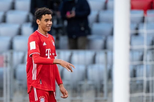 Jamal Musiala in action for Bayern Munich