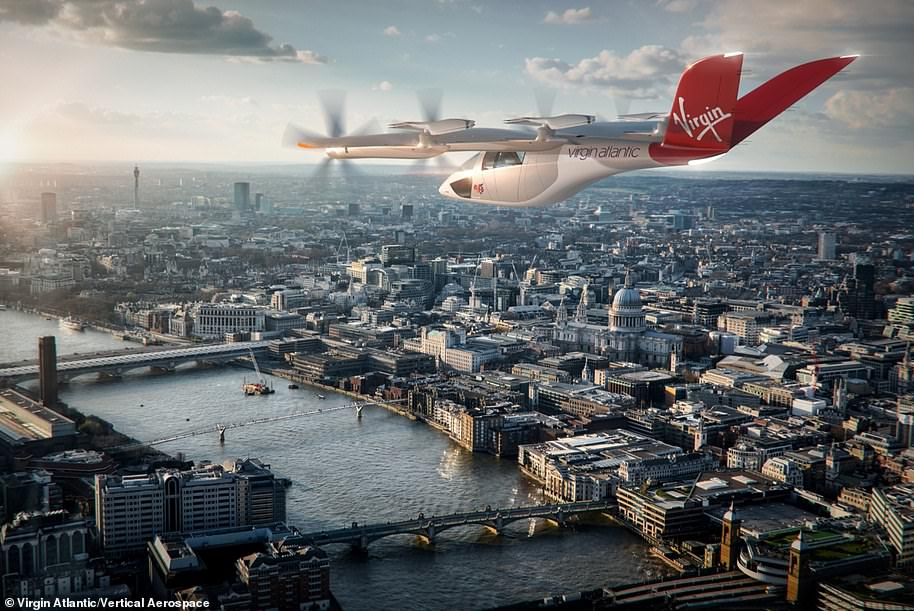 Trips in the craft will likely end up costing travellers around £5 to £10 per mile travelled – between that of a helicopter and a private car. Concept image shows a Virgin-branded aircraft, built by Vertical Aerospace, flying over London