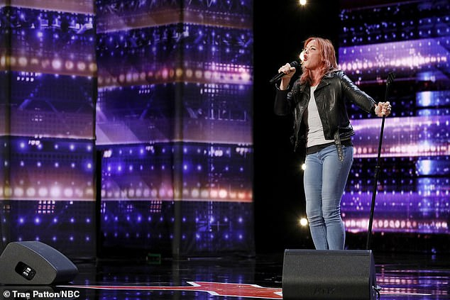 Rocking rendition:Storm Large, 51, belted out the Frank Sinatra song I've Got You Under My Skin and also earned a standing ovation from everyone