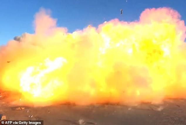 SpaceX's Starship SN8 rocket prototype crashing on landing at the company's Boca Chica, Texas facility