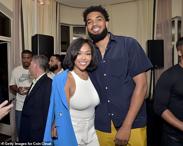 Love is in the air!Jordyn Woods and her boyfriend Karl-Anthony Towns looked oh so in love as they shared a snap inside the bash