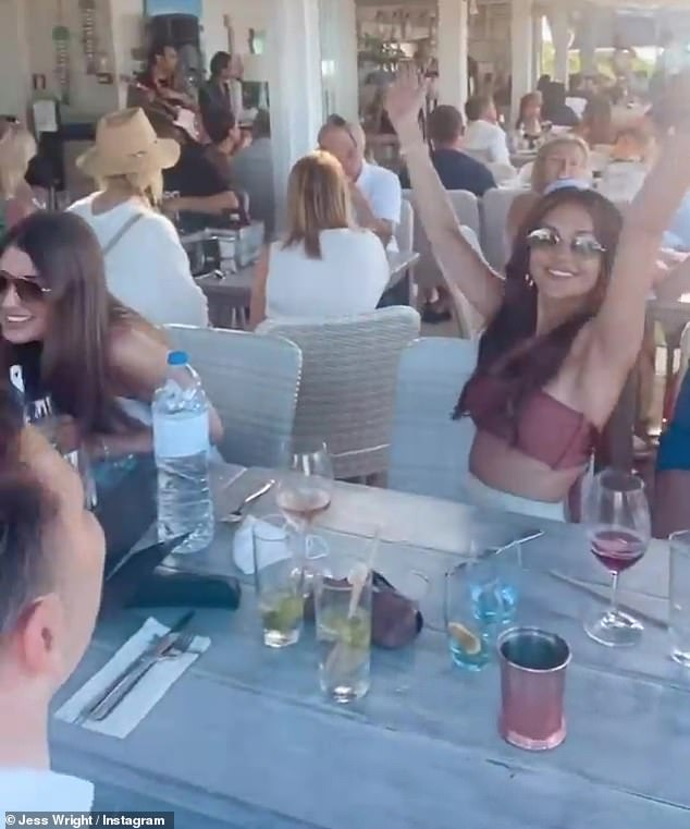 Fun times:Taking to her Instagram Story, Jess, 35, shared several updates from the trip which included sizzling selfies with Michelle dancing and laughing