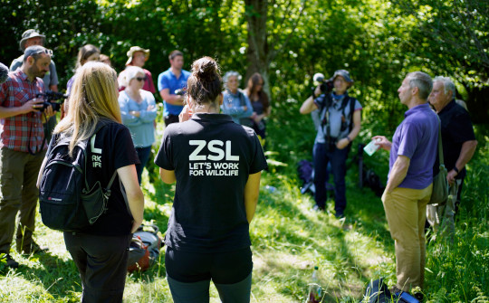 Ian White, Dormouse and Training Officer at the wildlife charity People''s Trust for Endangered Species (PTES), holds a briefing with volunteers and staff from the ZSL before they release the dormice back into the wild. (Credits: PA)