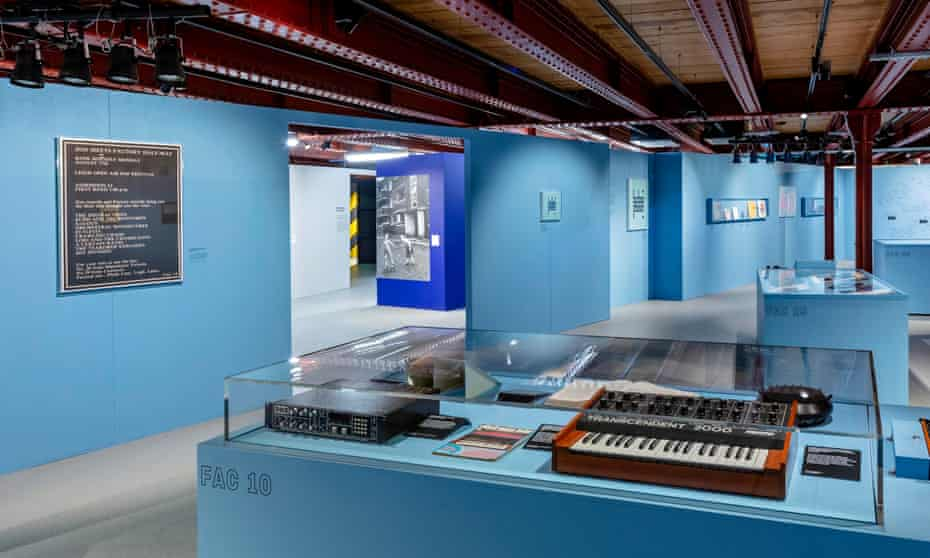 The synthesiser built by Bernard Sumner from a DIY kit. The exhibition space is painted the same shade of pale blue as the Haçienda.
