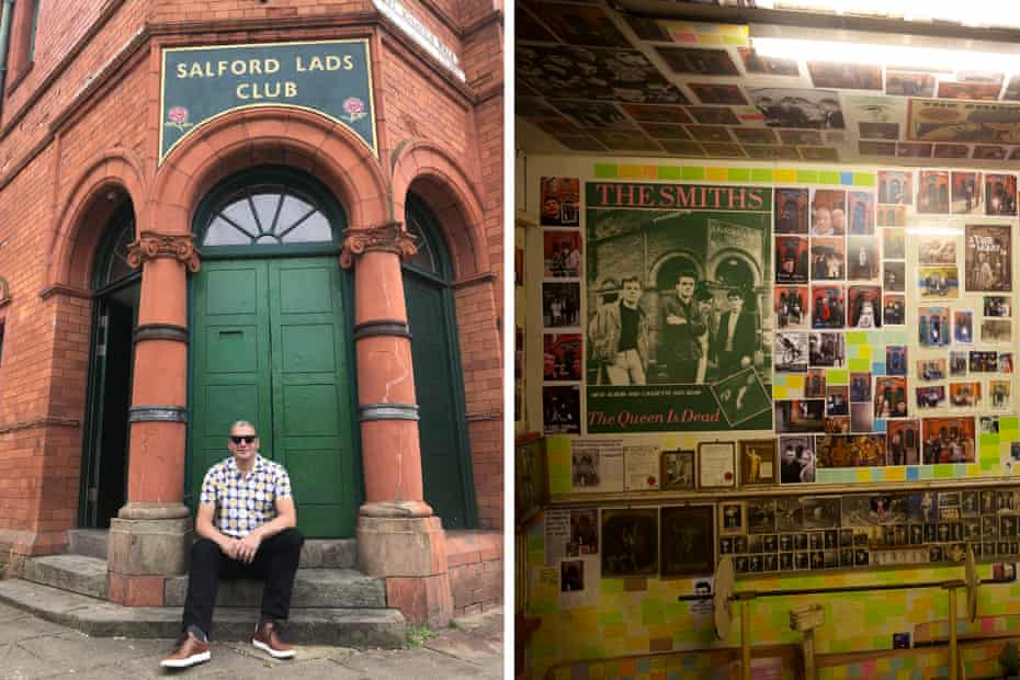 The writer at Salford Lads Club and detail of the Smiths Room
