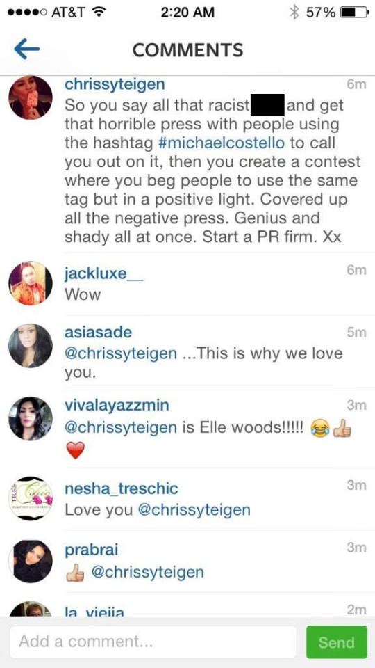 Michael Costello's reps shared a new screeshot in which Chrissy publicly messaged the designer, claiming he had been racist