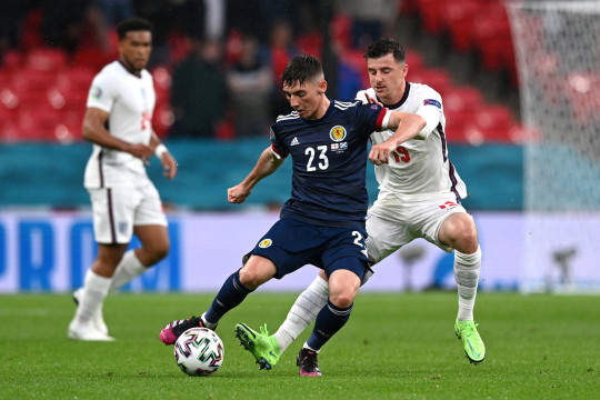 Billy Gilmour of Scotland is closed down by Mason Mount of England during the UEFA Euro 2020 Championship Group D match between England and Scotland at Wembley Stadium