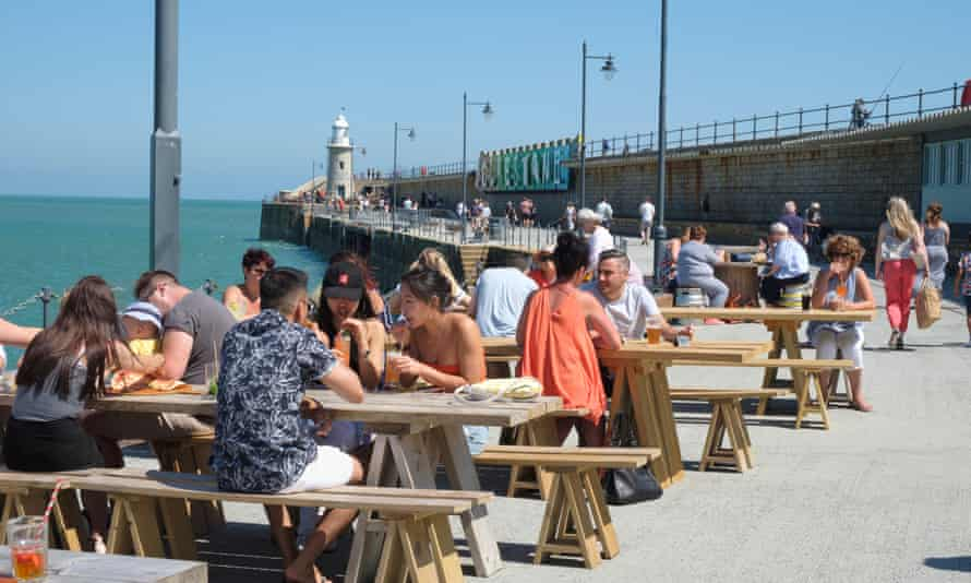 Waterside tables, on the seafront harbour arm at Folkestone.