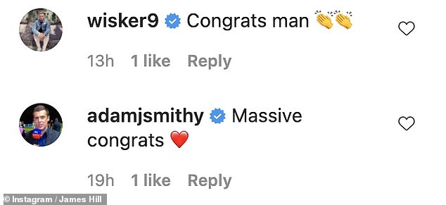 Well wishes: James celeb pals and fellow Celebrity Big Brother housemates from 2015 sent their congratulations in the comments
