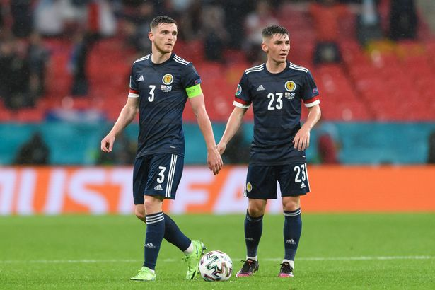 Andrew Robertson and Billy Gilmour during the England game