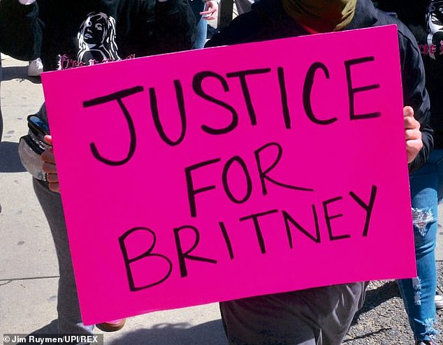 Free Britney:Spears fans protest outside a conservatorship court hearing at Los Angeles Superior Court in March this year