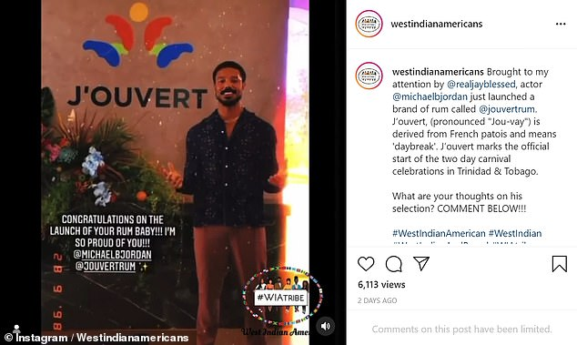 Going live: Jordan launched his 'J'Ouvert' rum line over the weekend which was criticized for cultural appropriation