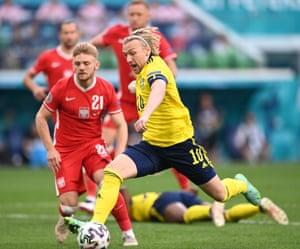 Emil Forsberg of Sweden scores the opening goal.