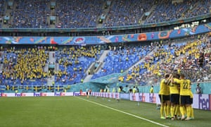 Sweden players celebrate after Emil Forsberg scored his side's opening goal.