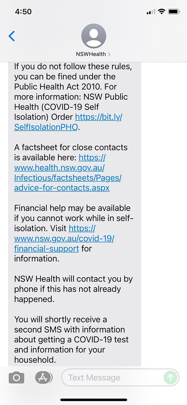 Health scare:Those who were at the salon during the affected times received a text message from NSW Health