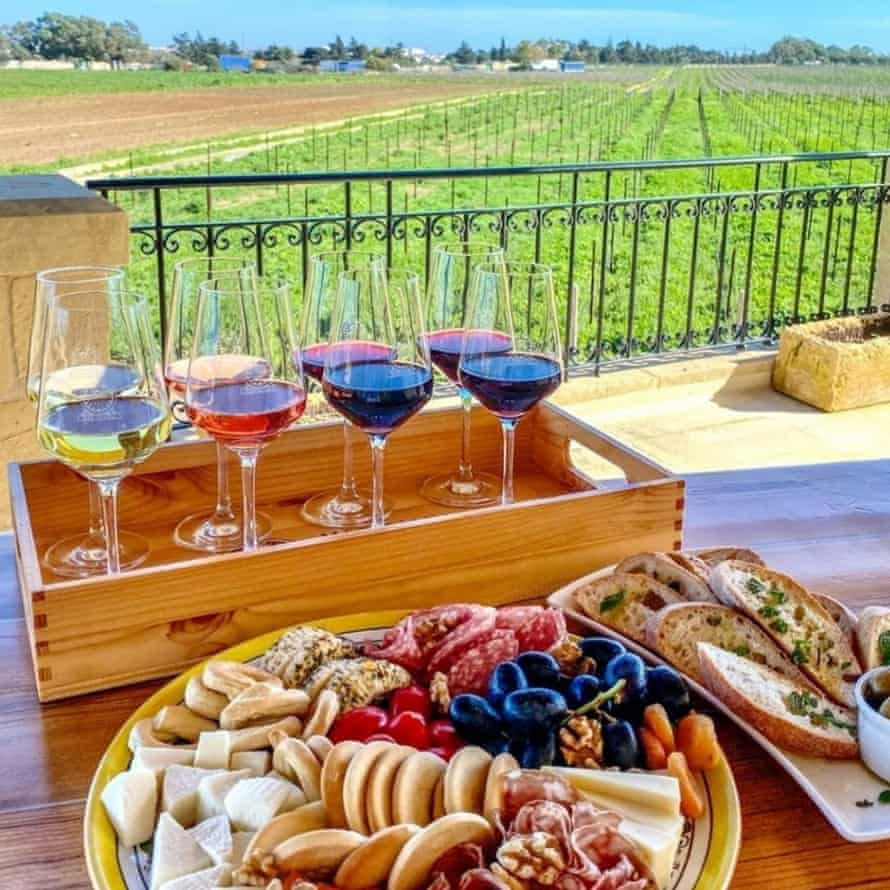 View of wines and meats on a table in front of vines at Meridiana Wine Estate, Malta.