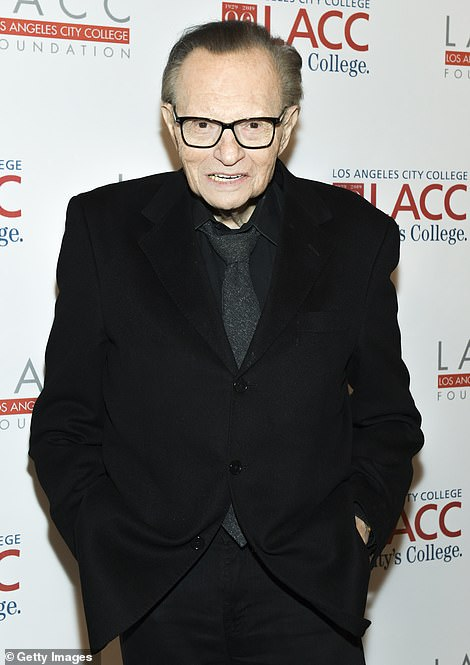 Honored: Alex Trebek and Larry King were posthumously honored with prizes at the Daytime Emmy Awards which were broadcast this Friday evening; King pictured in 2019