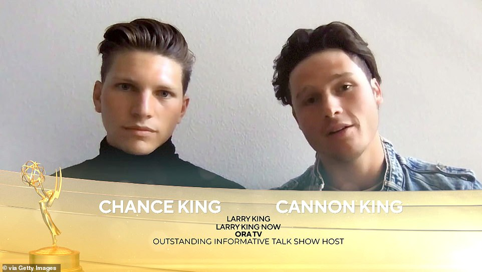 Virtual: King's son Chance, 22, and Cannon, 21, appeared virtually at the ceremony to acecept their father's posthumous Daytime Emmy Award for outstanding informative talk show host for his program Larry King Now