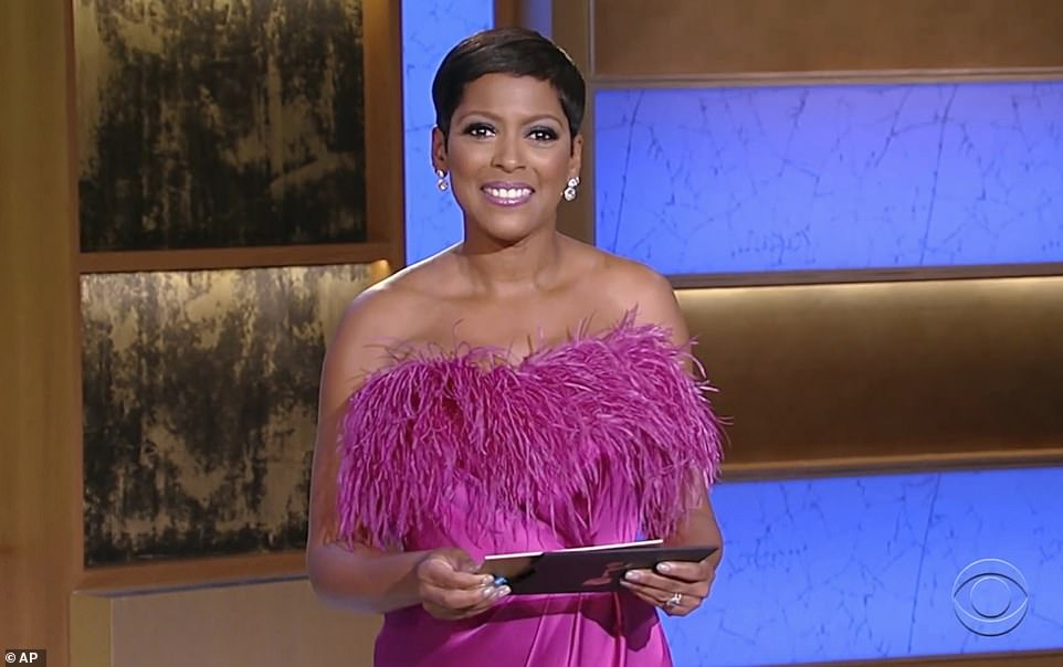 Best of the best: Talk show host Tamron Hall also presented the best game show host award that evening, which went to Jeopardy! and was accepted by executive producer Mike Richards