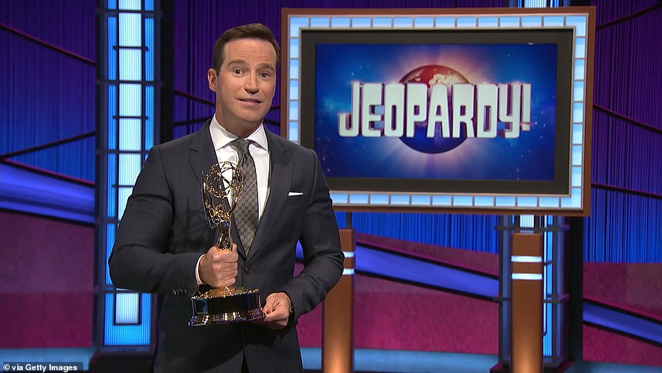 More than a game show: Mike (pictured) said in his speech that Alex 'believed that Jeopardy! was more than just a game show. He loved it because it stood for facts, competition and the celebration of intelligence'