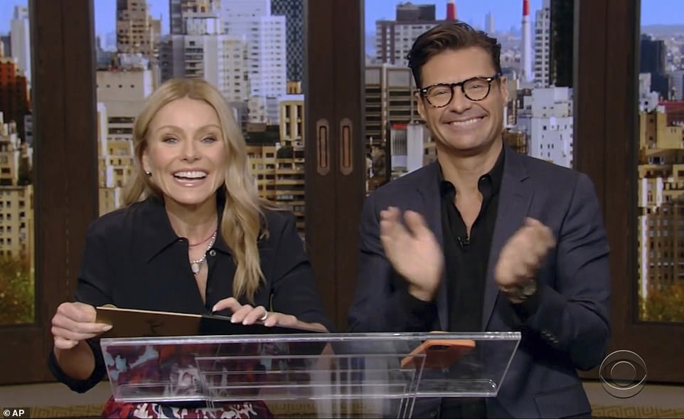 Live!Kelly Ripa and Ryan Seacrest presented the award for outstanding performance by a lead actress in a drama series