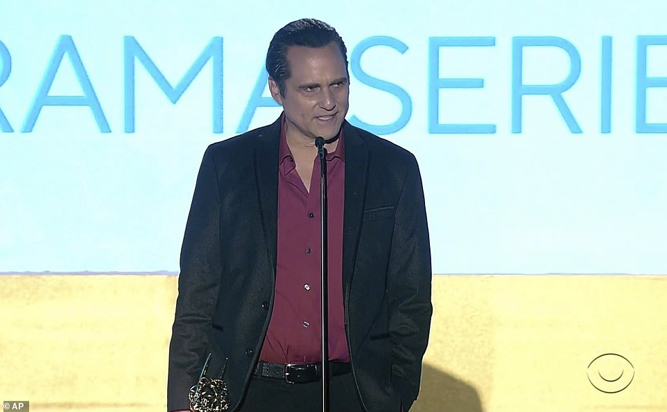 Emotional:Maurice Benard won best lead actor in a drama series for General Hospital and gave an impassioned speech about Alzheimer's which plays a central role in his recent storyline