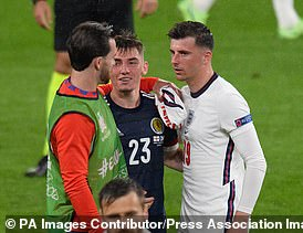 Billy Gilmour, Mason Mount and Ben Chilwell in close contact with each other