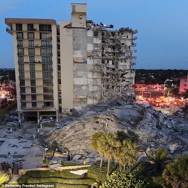 Dangerous search: The number of people confirmed to be killed rose to five on Saturday. Currently, 130 people have now been accounted for and 156 others are listed as missing following the collapse of the 12-story residential building, Champlain Towers, early Thursday