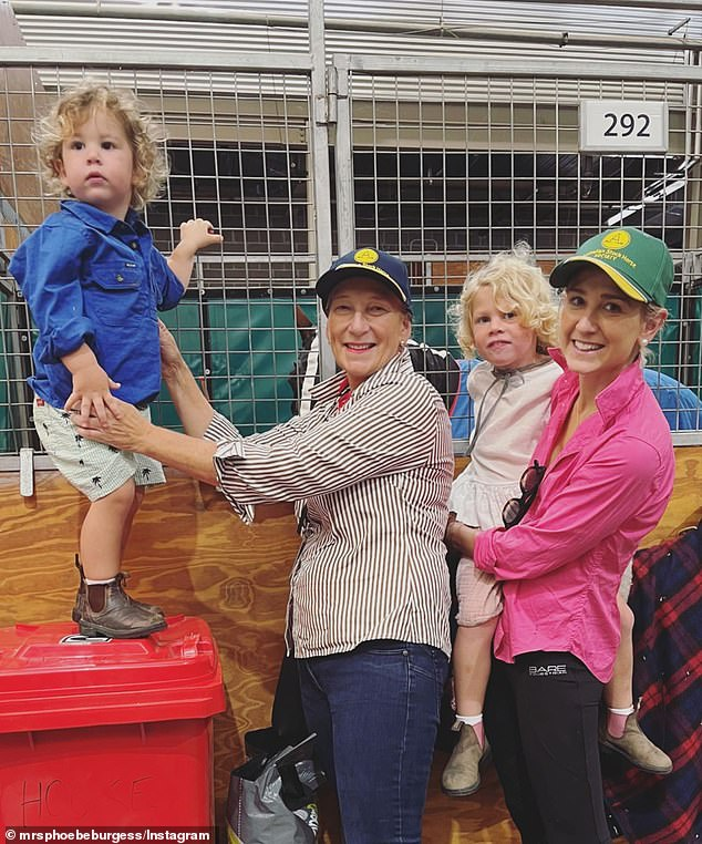 Details: In the caption, Sarah explained the women were 'planning' - perhaps for Harriet's upcoming wedding. Harriet was recently engaged. Sarah and Phoebe's sister Harriet are pictured with Phoebe's children on another occasion