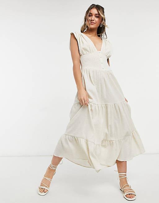 ASOS Design shirred waist midi dress