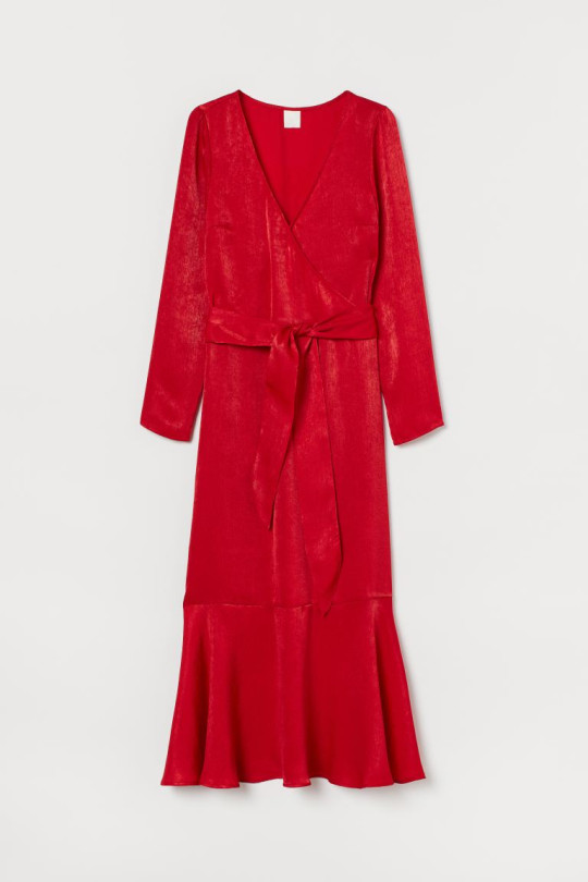 Red shimmering satin dress from H&M