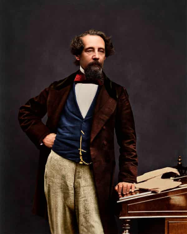 A colourised photo of Charles Dickens.