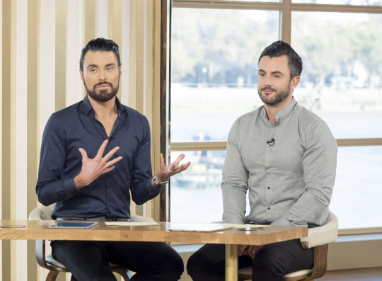Editorial use only Mandatory Credit: Photo by S Meddle/ITV/REX (6897917b) Rylan Clark and Dan Clark-Neal 'This Morning' TV show, London, UK - 28 Oct 2016