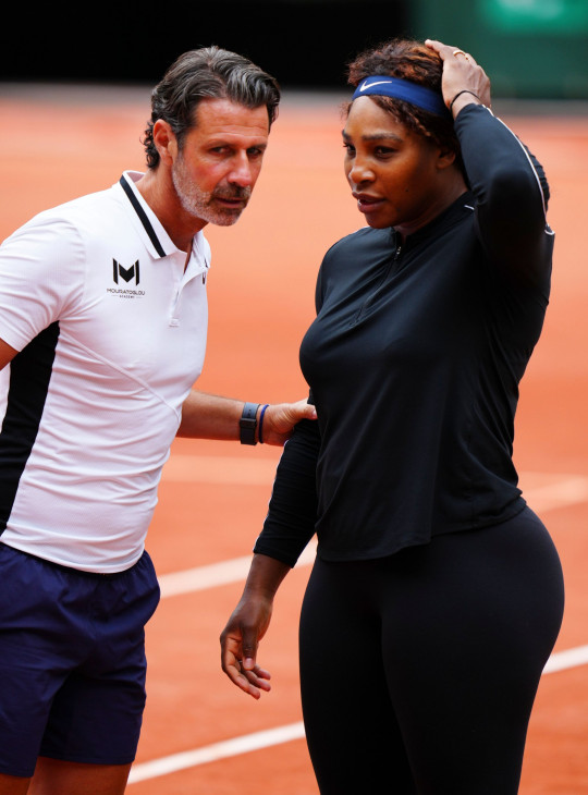 Serena Williams practices with coach Patrick Mouratoglou French Open Tennis, Saturday Previews, Roland Garros, Paris, France - 29 May 2021 Mandatory Credit: Photo by Javier Garcia/BPI/Shutterstock (11977033bk)