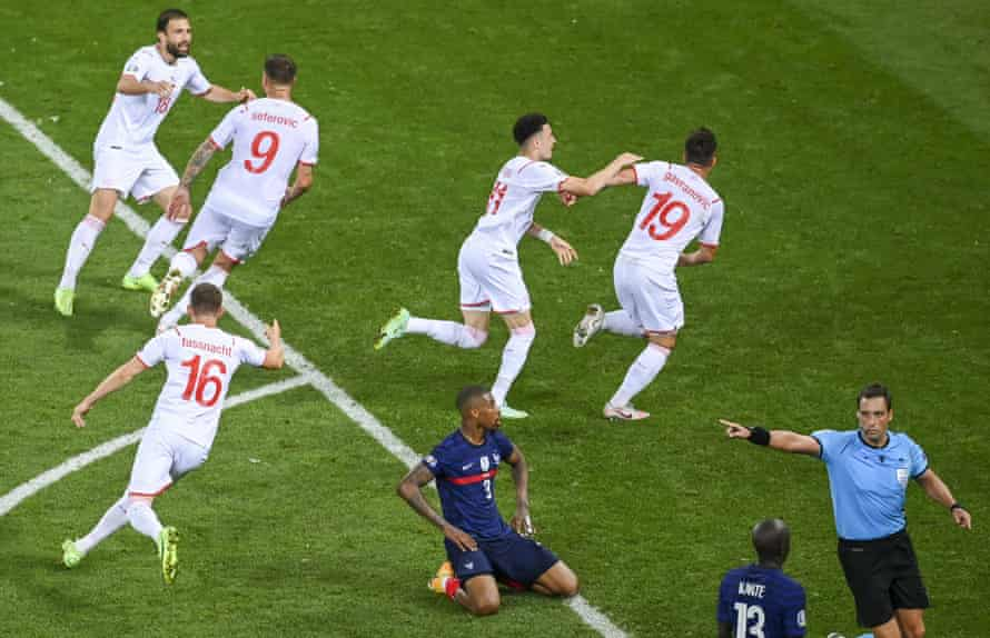 Mario Gavranovic celebrates his late equaliser for Switzerland, who came from 3-1 down to force extra time.