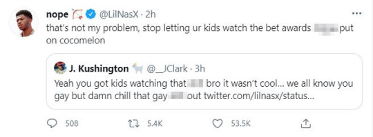 Lil Nas X's tweet in response to a fan who criticised his performance as not being child-friendly