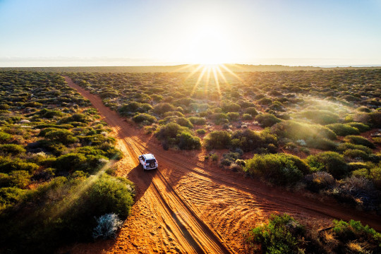Australia, red sand unpaved road and 4x4 at sunset, Francoise Peron, Shark Bay; Shutterstock ID 681062968; Purchase Order: -