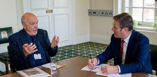 Nuclear test veteran John Morris with Labour leader Sir Keir Starmer at Portcullis House, Westminster.