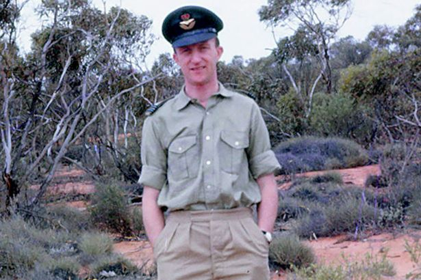 Flight Lieutenant David Purse pictured while serving in Maralinga. He died before meeting his grandson Sascha