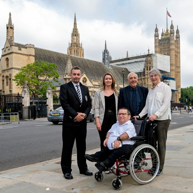 Nuclear test veterans and families outside Parliament, L to R, Alan Owen, Laura Morris, John Morris, Jacqueline Purse and Steve Purse